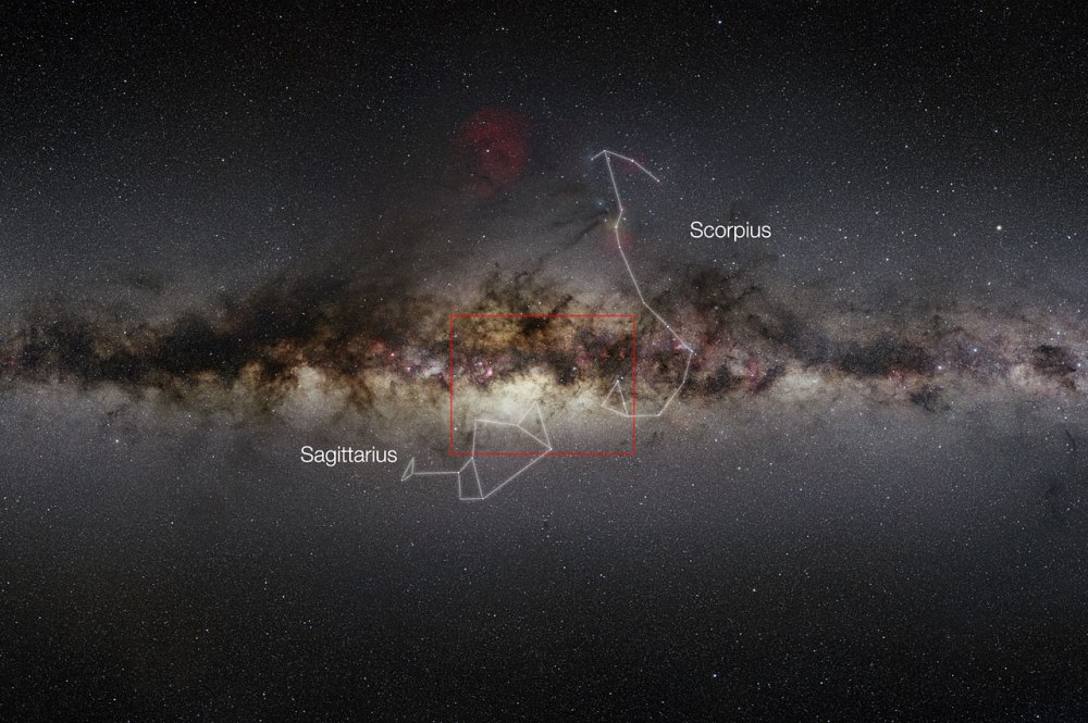 This very wide-field view of the Milky Way shows the extent of the new VISTA infrared image of the centre of the galaxy. These data cover the region known as the bulge of the galaxy and have been used to study a much larger number of individual stars in the central parts of the Milky Way than ever before. The region covered by the new VISTA mosaic is shown as a rectangle.